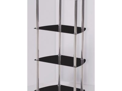 Shelving Unit (Tempered Glass and Stainless Steel) with Rounded Corners - Samara