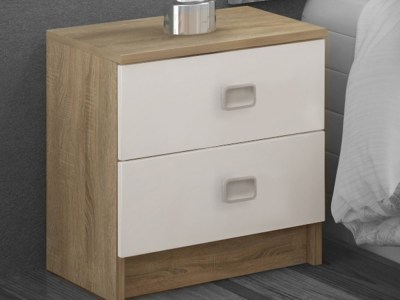 2 Drawer Bedside Table in White and Brown - Rimini