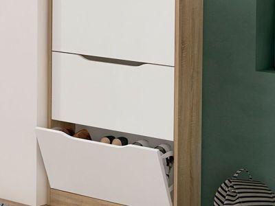 Zapatero de color blanco y roble, 3 puertas - Rimini