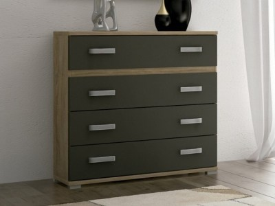 4 Drawer Chest of Drawers - Cremona. Brown and Grey