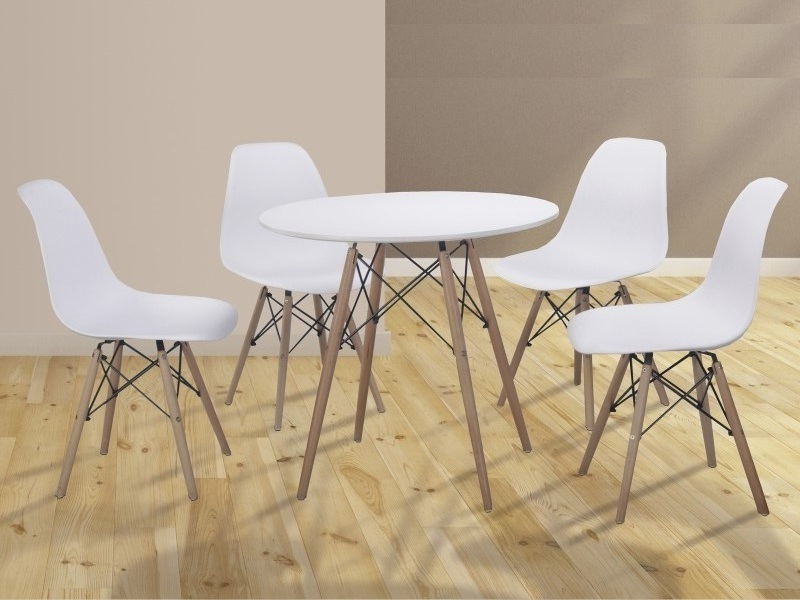 Conjunto comedor de mesa redonda y 4 sillas - Bergen - Don Baraton: tienda  de sofás, colchones y muebles