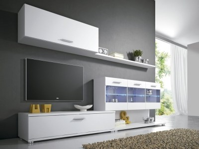 Living Room Set with LED Lights, 250 cm - Treviso. White Colour