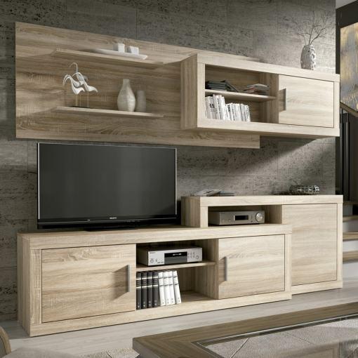 Conjunto modular de salón, 241 cm - Messina. Color roble