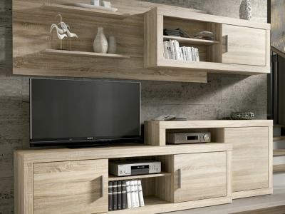 Wall unit - TV stand, two shelves and wall cabinet, 241 cm - Messina. Brown colour