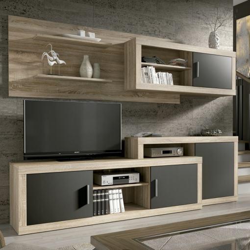 Conjunto modular de salón, 241 cm - Messina. Colores roble y gris