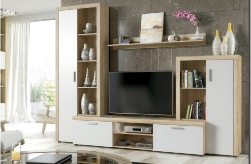 Living Room Furniture Composition, 4 Modules , 263 cm - Bolzano. Oak and white colours