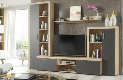 Living Room Furniture Composition, 4 Modules , 263 cm - Bolzano. Oak and grey colours