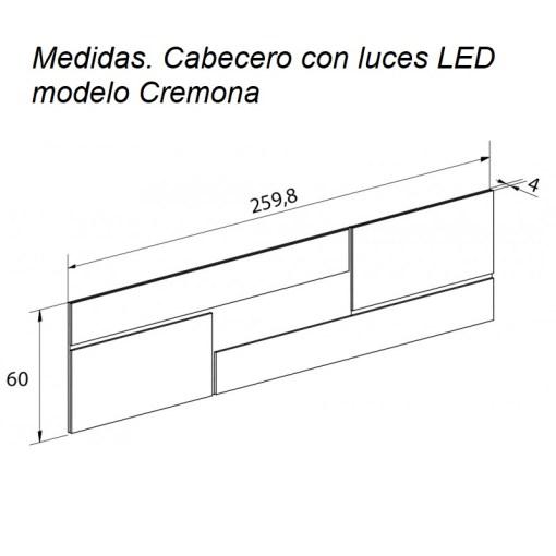 Medidas. Cabecero con luces LED modelo Cremona