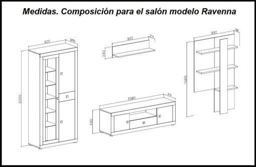 Medidas. Composición para el salón en dos colores 300 cm - Ravenna
