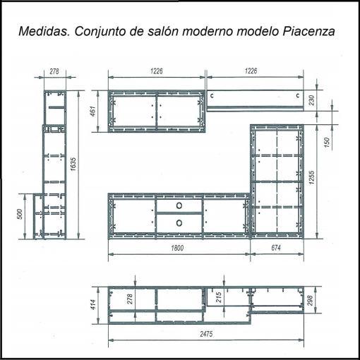 Medidas. Conjunto de salón moderno - Piacenza