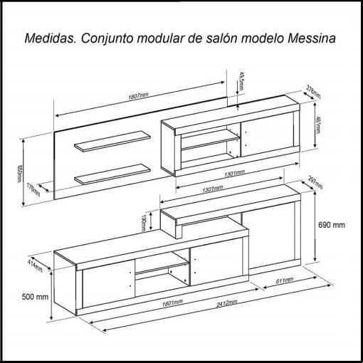 Medidas. Conjunto modular de salón, 241 cm modelo Messina
