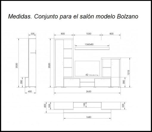 Medidas. Conjunto para el salón de 4 módulos - Bolzano