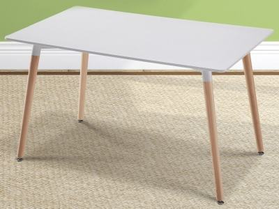 White Rectangular Dining Table 130 x 80 cm with Wooden Legs - Bergen