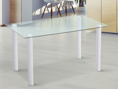 Dining Table with Hard Tempered Glass Top - Novelda. White Legs