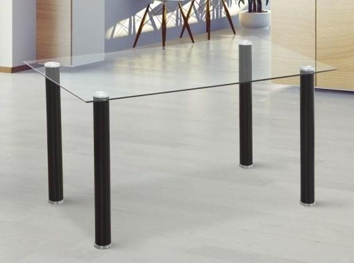 Mesa comedor con tapa de cristal templado - Novelda. Patas negras