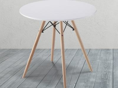 White Round Dining Table with Wooden Legs and Metal Supports - Bergen