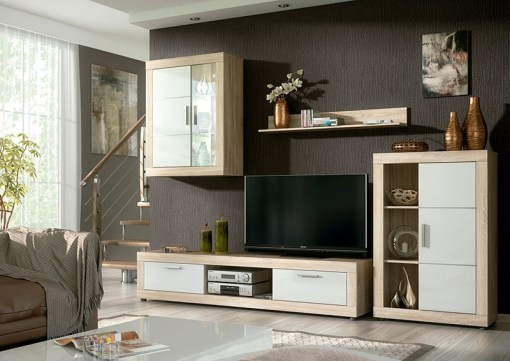 Lounge Furniture Set with LED lights - 2 Cabinets, TV Stand and Shelf, 259 cm - Ancona. Brown and white