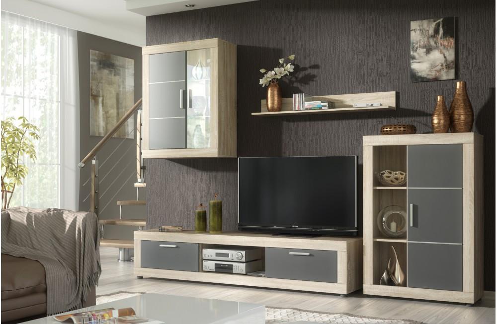 Mueble de sal n con led 2 vitrinas bajo tv y estande for Muebles bajos para salon