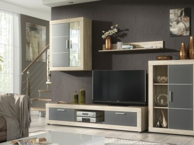 Lounge Furniture Set with LED lights - 2 Cabinets, TV Stand and Shelf, 259 cm - Ancona. Brown and grey