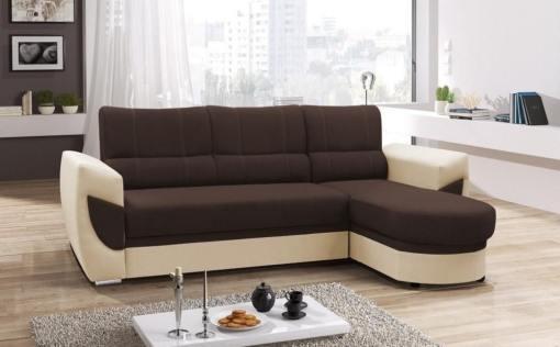 Sofá cama con chaise longue curvo de diseño - Alpera. Marrón, beige. Chaise longue lado derecho