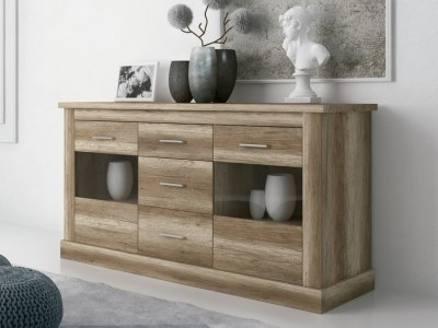 Sideboard with 3 Drawers and 2 Glass Doors, Imitation Wood Finish - Alabama