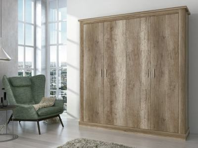 Hinged Door Wardrobe, Imitation Wood Finish, 4 Doors, 196 cm - Alabama
