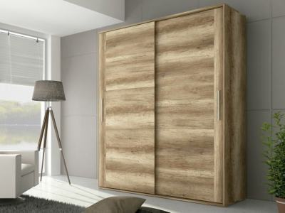Wardrobe with 2 Sliding Doors, Imitation Wood Finish, 180 cm - Alabama