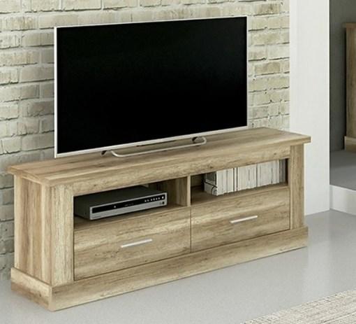 Bajo TV con 2 cajones, acabado efecto madera, 135 cm - Alabama