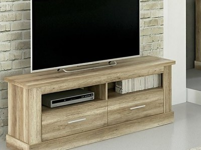 TV Stand with 2 Drawers & 2 Shelves, Imitation Wood Finish, 135 cm - Alabama