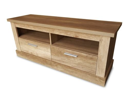 2 Drawers TV Stand with 2 Open Display Shelves, Imitation Wood Finish, 135 cm - Alabama