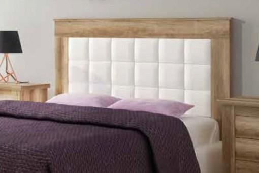 Cabecero efecto madera con panel blanco tapizado en polipiel, 160 cm, modelo Alabama