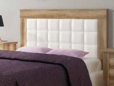 Изголовье кровати с панелью белого цвета, отделка под дерево, 160 см - Alabama