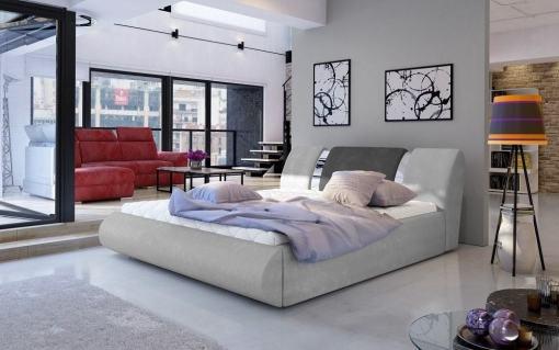 Modern King Size Ottoman Bed 160 x 200 cm with Slatted Base - Charlotte. Light grey and dark grey fabrics