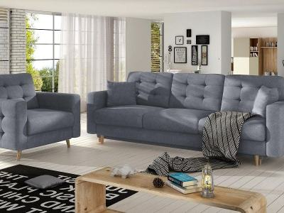 Sofa set 3+1: three seater sofa bed and matching armchair, padded light grey fabric Soro 93 - Copenhagen