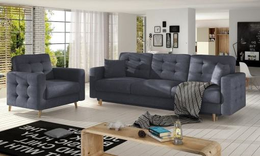 Sofa set 3+1: three seater sofa bed and matching armchair, padded dark grey fabric Soro 95 - Copenhagen