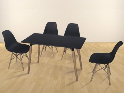 Conjunto comedor de mesa rectangular y 4 sillas en color negro - Bergen