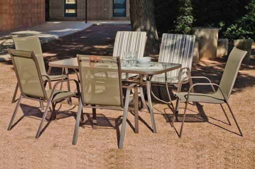Conjunto para jardín - mesa rectangular 150 cm y 4 sillones de acero Caribe
