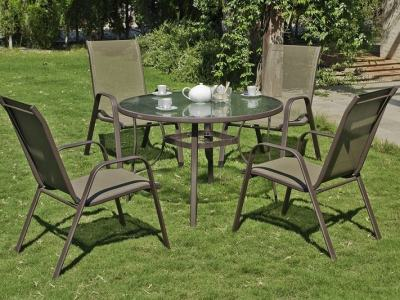 Patio Set - Large Round Table 105 cm + 4 Chairs, Bronze Colour - Caribe