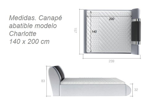 Dimensions of the Charlotte ottoman bed 140 x 200 cm