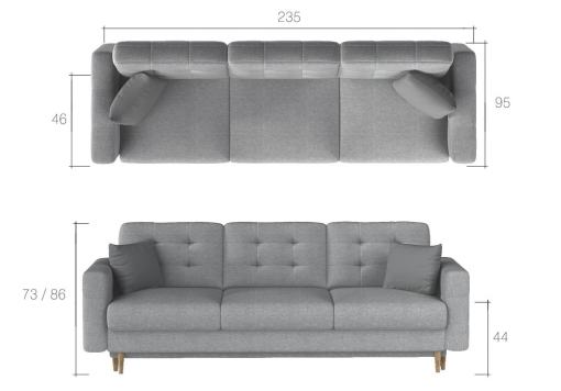 Dimensions of the Copenhagen 3 seater sofa bed