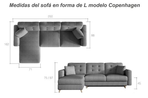 Dimensions of the Copenhagen L-shaped Sofa Bed