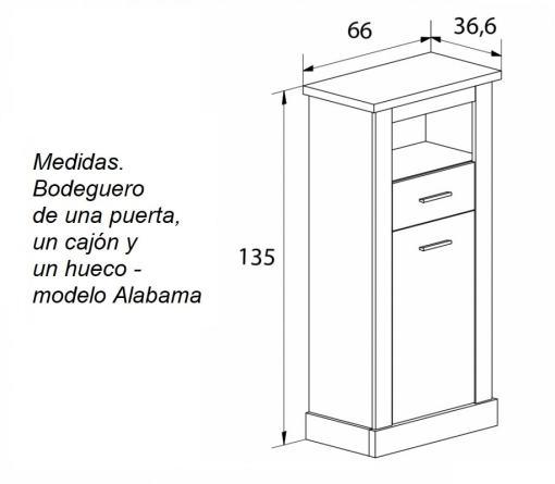 Medidas. Bodeguero efecto madera, de una puerta, un cajón y un hueco modelo Alabama