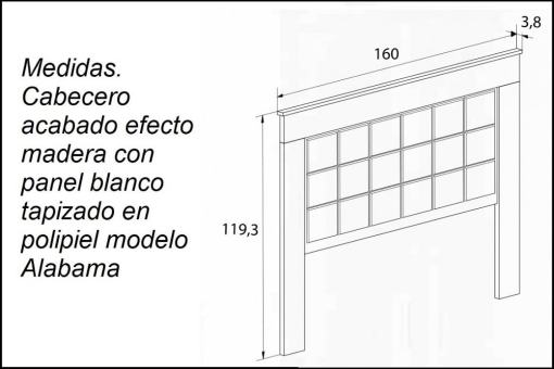 Medidas. Cabecero acabado efecto madera con panel blanco tapizado en polipiel modelo Alabama