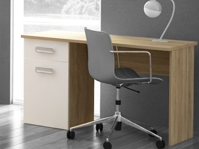 Desk 120 x 50 cm with Drawer in White and Brown - Rimini