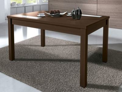 Dark Brown (Wengue) Extendable Dining Table 140-180 x 90 cm with 2 Glass Inserts - Catania