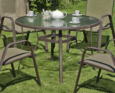 Круглый садовый стол 105 см, сталь и закалённое стекло - Caribe