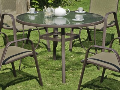 Round Patio Table 105 cm - Steel with Toughened Glass - Caribe