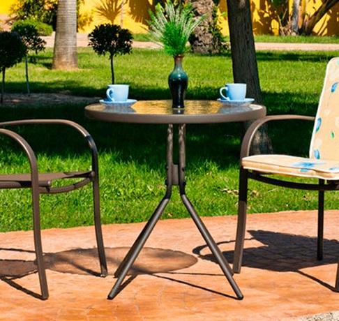 Круглый садовый стол 70 см, сталь и закалённое стекло - Caribe