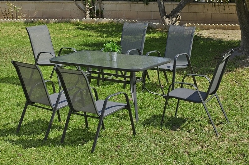 patio set rectangular table 150 x 90 cm 4 chairs in grey steel dominica