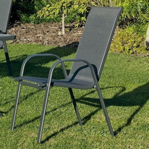 Серый стул для сада из стали и прочного полиэстера - Dominica